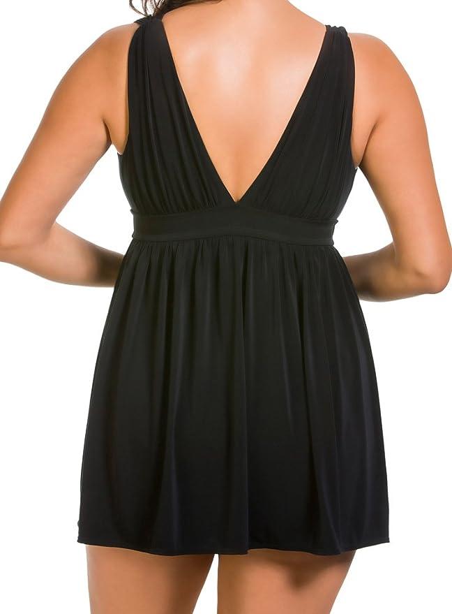 f4143c1eb2f3e Longitude Shirring Chic Goddess Slimming Swimdress at Amazon Women's  Clothing store: