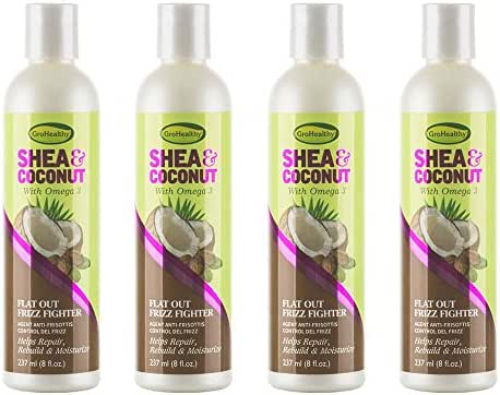 Shea & Coconut Flat Out Frizz Fighter Hair Treatment Cream for Flyaway Frizzy Natural Curly Hair - Helps Smooth Repair Rebuild & Moisturize with Omega 3, Sulfate-Free - Sofn'Free GroHealthy,Pack of 4