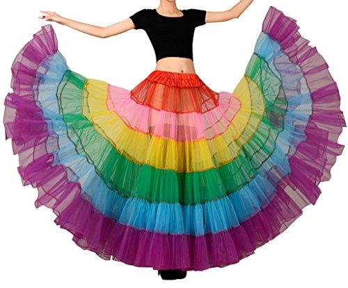 Edith qi Donne Layered Rainbow tutu sottoveste vestito da ballo Clubwear Festival sposa, formato XS, S, M, XL, XXL