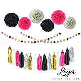 Li★ya Party Decorations - 15 Tassels, 6 Paper Pom Poms, 2 Circle Garlands; perfect for Bridal Showers, Bachelorette, Wedding and Birthday Parties; Pink, Gold, Black, White, Polka Dots