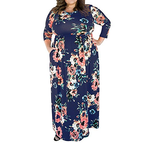 c8cd6b72403 FLYCOOL Womens Plus Size 3 4 Sleeve Floral Print Elastic High Waist Vintage  Midi Blue Dress with Pockets - Buy Online in Oman.