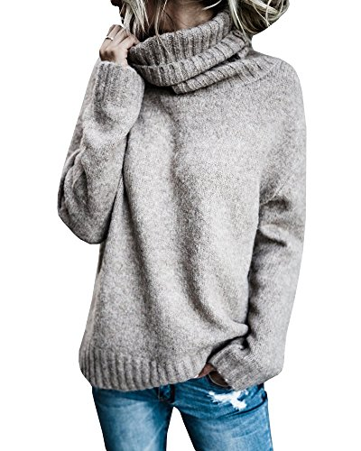 Beautife Womens Sweaters Casual Turtleneck Long Sleeve Soft Knitted Sweater Pullover