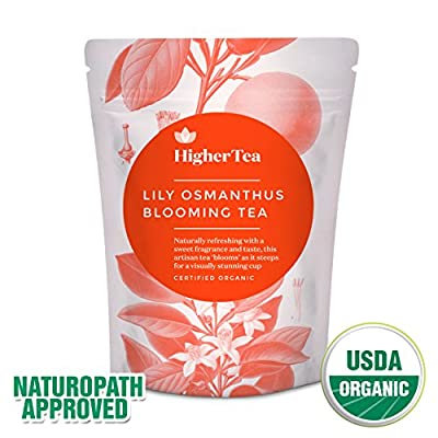 Lily Osmanthus Blooming Tea 3 oz, By Higher Tea (8 Blooms) Beautiful Hand Sewn Petals Unfurl To Deliver Delicious, Healthy Flowering Tea, Handmade Chinese Blossum Balls