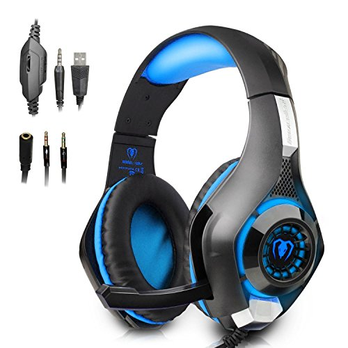 IKOCO GM-1 Gaming Headset for PS4 PC Laptop Smartphone Tablet Cell Phone, Blue Stereo LED Headphone with Microphone and Y Splitter (GM-1-Blue)