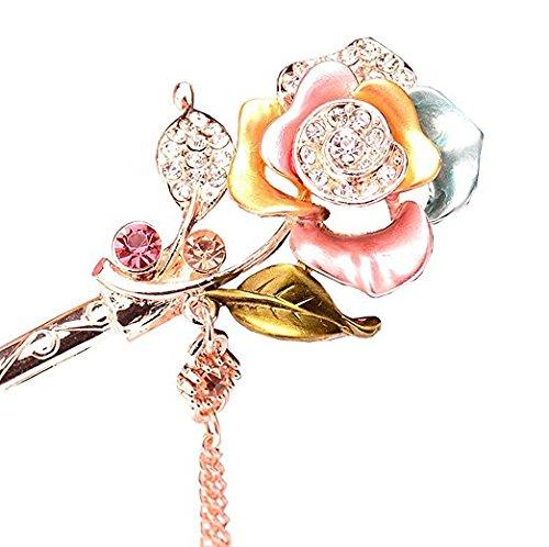 Form Enamel Crystal Jewelry - FINGER LOVE LUX Crystal Rhinestone Pearl Enamel Hair Stick with Tassels (Q)
