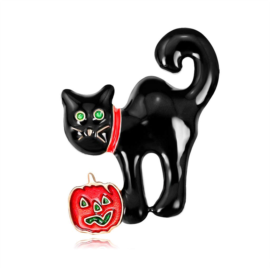 ShallweT Pumpkin Brooch Pin Halloween Black Cat Enamel Charms Jacket Pins Jewelry Badge Banquet Gifts for Boys GIrls Men Women Prom