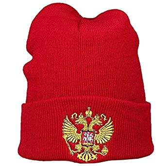 f7325dbd457 World 2 home 2017 Men s Knitted Hats with Symbol Russia Winter Hats Russia  Emblem Embroidery Winter Sports hat Beanies Skully Men Women  Amazon.in   Clothing ...