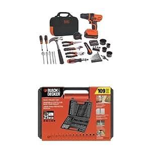 Black & Decker LDX120PK 20-Volt MAX Lithium-Ion Drill and Project Kit w/ BDA91109 Combination Accessory Set, 109-Piece