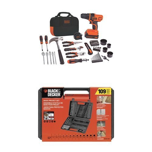 Black & Decker LDX120PK 20-Volt MAX Lithium-Ion Drill and Project Kit w/ BDA91109 Combination Accessory Set, (Cordless Combination Kit)