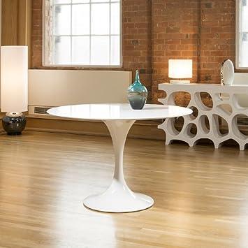 Designer Modern Round Tulip Dining Table White Gloss 12mtr Dia