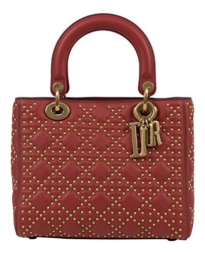 CHRISTIAN DIOR. 'Lady Dior' Red Leather W/Attachable Strap Shoulder Bag