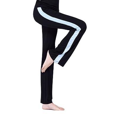 Juleya Femme Jogging Pantalon Yoga Pantalon Taille Haute Pantalon évasé  avec Bandes Latérales Décontracté Élastique Doux 11052b6f0ff