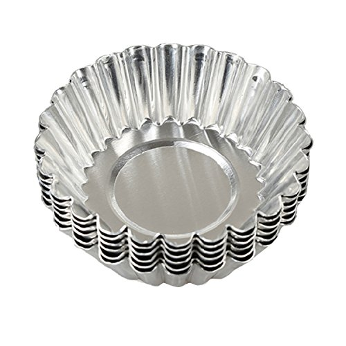 HugeStore 20pcs Silver Tone Aluminum Egg Tart Mold Mould Makers Cupcake Cake Cookie Mold Lined Mould Tin Baking Tool 6.5cm (Leche Flan)