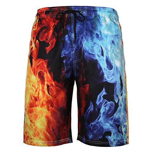 URVIP Men's Funny Swim Trunks Summer Surf Beach Board Shorts with Side Pockets L-15791 6XL