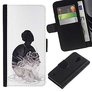 LECELL--Cuero de la tarjeta la carpeta del tirón Smartphone Slots Protección Holder For Samsung Galaxy S4 IV I9500 -- Cableado --