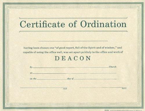 Certificate of Ordination Deacon Parchment Paprer - Ordination Certificate