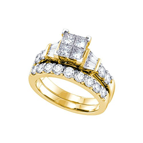 Jewels By Lux 14k Yellow Gold Womens Princess Diamond Invisible-set Wedding Bridal Engagement Ring Set 1 Cttw Ring Size 9 (Diamond Set Invisible Bridal)