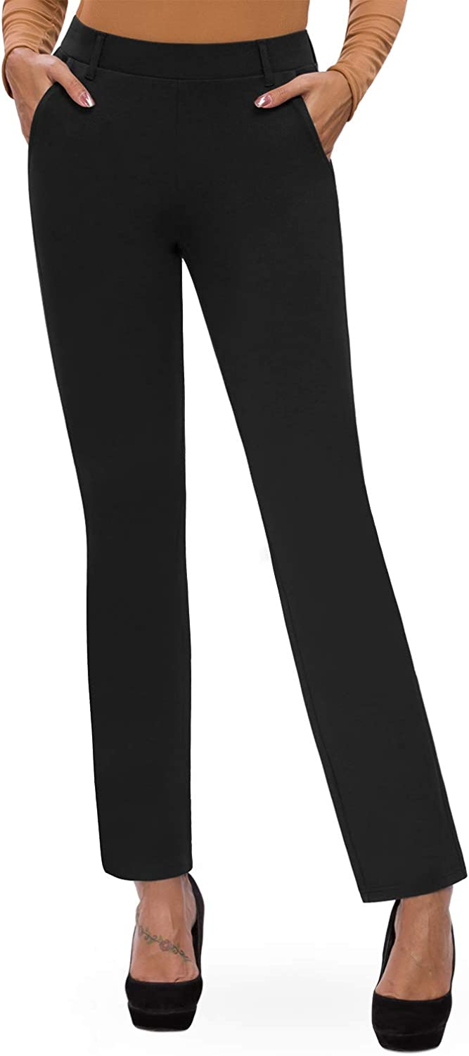 Bamans Women's Bootcut Pull-On Dress Pants Office Business Casual Yoga Work Pants with Key Pocket Straight Leg