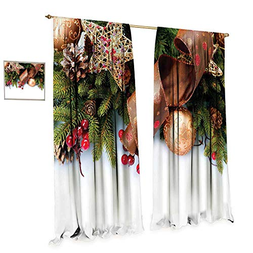 Christmas Room Darkening Wide Curtains Pine Cones with Garland Tree Topper Star Mistletoe and Swirled Ornate Elements Decor Curtains by W120 x L84 Multicolor (Topper Tree Kohls)