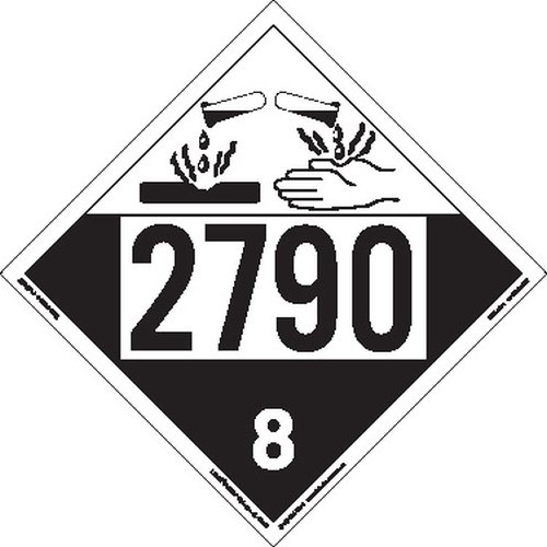 Labelmaster ZT4-2790 UN 2790 Corrosive Hazmat Placard, Tagboard (Pack of 25) by Labelmaster®