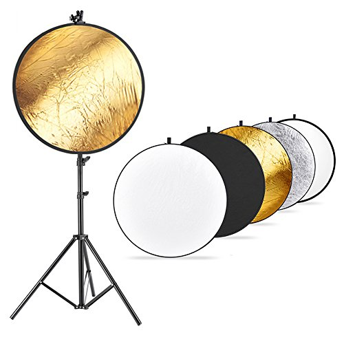 (Neewer Photo Studio Lighting Reflector and Stand Kit: 43 inches/110 centimeters 5-in-1 Multi-Disc Reflector,75-inch Light Stand and Metal Reflector Clamp Holder for Photo Video Portrait Photography)