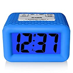 iCKER Large Display Smart Light Alarm Clock with Rubber Case and Snooze, Dimmer and Backlight, Battery Powered Travel Alarm Clock, Blue