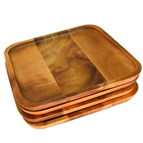 RoRo 8 Inch Acacia Square Wood Charger/Accent Plate and Tray Set, Set of 4