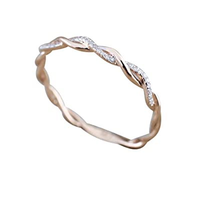 regard détaillé 2a524 326ea Siilrut Bague en Diamant de Forme torsadée, Bague ...