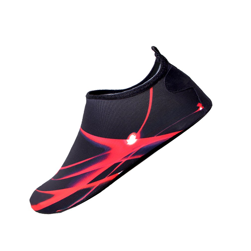 Women or Men Water Skin Shoes Quick Dry Barefoot Aqua Socks for Beach Swim Yoga Surf Sports Stripe Red Size M(1941)