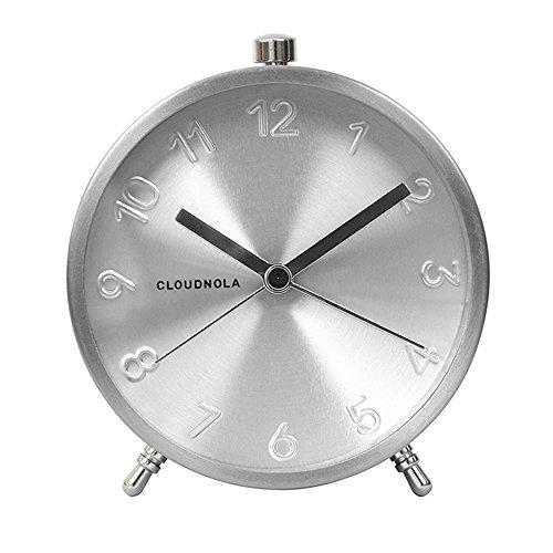 Cloudnola Glam Metal Alarm Clock Silver, 4.3 inch Diameter, Silent Non Ticking, Battery Operated Quartz Movement