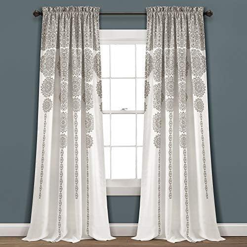 Lush Decor Stripe Medallion Curtains Fabric Mandala Bohemian Damask Print Room Darkening Window Panel Set for Living, Dining, Bedroom Pair , 95 L x 52 W, Mauve Gray