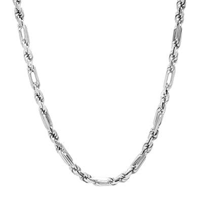 NYC Sterling Unisex 4MM 925 Silver Figarope Chain Necklace Made In Italy 20