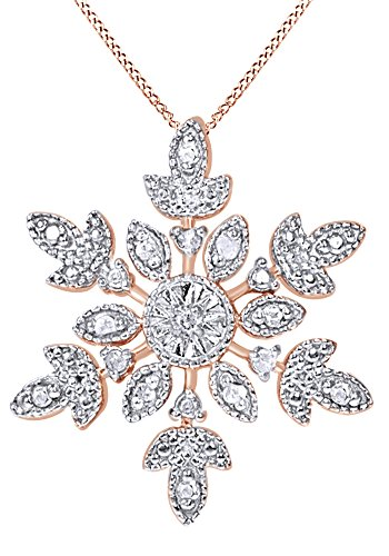 AFFY White Natural Diamond Snowflake Pendant Necklace in 14K Rose Gold Over Sterling Silver (0.1 Ct)