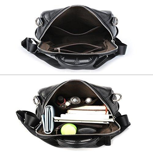 Front Zipper Double Bag Black Versatile Genuine Leather Convertible Shoulder YALUXE Women's Backpack xwBUF4qHY0