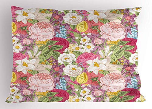 - Floral Pillow Sham, Vintage Mixed Flowers Delphinium Lily Orchid Rose Tulip Roses Botany Garden Image, Decorative Standard Queen Size Printed Pillowcase, 30 X 20 inches, Multicolor