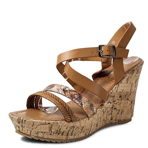 Schuhtraum Damen Sandalen Keilabsatz Sandaletten Wedge High Heels Plateau  ST011 Camel add84c7508