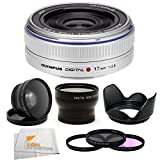 Olympus M.Zuiko Digital 17mm f2.8 Lens Kit for Micro Four Thirds Format Cameras. Package Includes: Olympus 17mm Lens(Silver), 2X Telephoto Lens, 0.45X Wide Angle Lens, 3 Piece Filter Kit(UV-CPL-FLD), Lens Hood and SSE Microfiber Cleaning Cloth