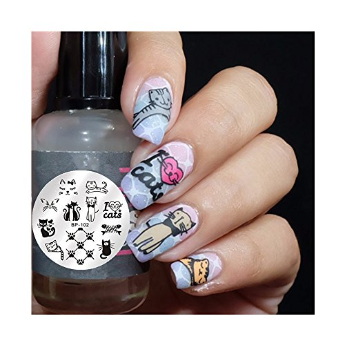 born-pretty-nail-art-stamping-plate-cute-cats-image-plate-bp-102-55cm-round