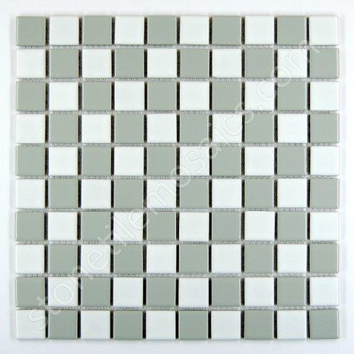 Square Checkered Tile Grey & White Porcelain Mosaic Shiny Look 1-1/8