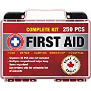 Stay Prepared 250-Piece First Aid Kit: 2-in-1 for Home, Office, Camping, Car, School, Emergency, Disaster, Travel…