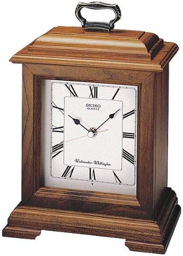 Seiko Mantel Chime Carriage Clock Cherry Finish Solid Wood Case -  QXJ102BC