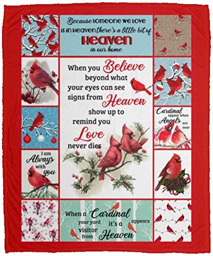 When You Believe Beyond What Your Eyes Cardinal Fleece Blanket - Premium Sherpa Blanket - Woven Blanket, One Size, Cozy Plush Fleece Blanket - 50x60 / Red