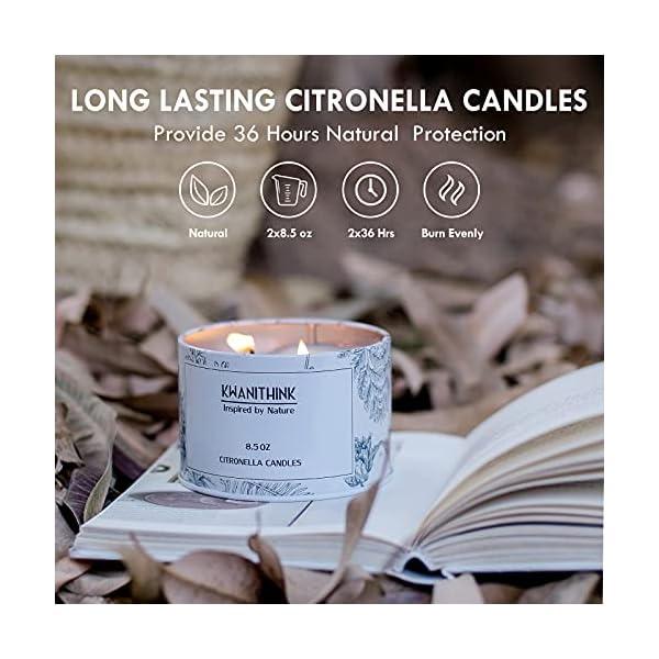 514y73zq1yS KWANITHINK Citronella Kerze,2 x 36 Stunde Natürliche Sojawachs Kerzen, Duftkerze Citronella Kerzen outdoor perfekt für…