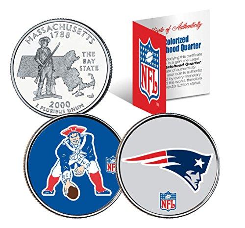 Nfl Coin Set - NEW ENGLAND PATRIOTS *Retro & Team Logo* MA Quarters 2-Coin US Set NFL LICENSED