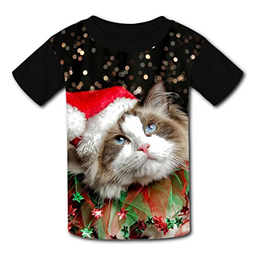 BYTimz Merry Christmas Hat Cat T-shirts 3D Graphic Round Neck Tee Shirts for Boys Girls