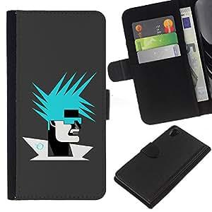 KLONGSHOP // Tirón de la caja Cartera de cuero con ranuras para tarjetas - Resumen Retrato - Sony Xperia Z2 D6502 //