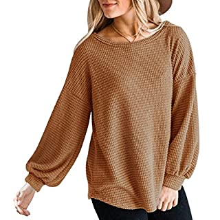 MEROKEETY Womens Long Balloon Sleeve Waffle Knit Tops Crew Neck Oversized Sweater Pullover, Brown, S