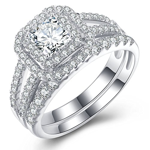 Vibrille Diamond Frame Princess-Cut Cubic Zirconia Engagement Wedding Ring Bridal Set Sterling Silver Size 8 (Split Shank Engagement Ring And Wedding Band)