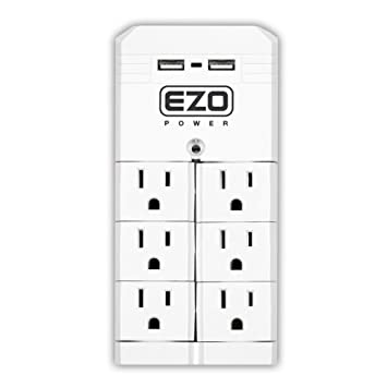 UL Certified] EZOPower 6 Pivot + 2 Standard AC Outlet Power Strip ...