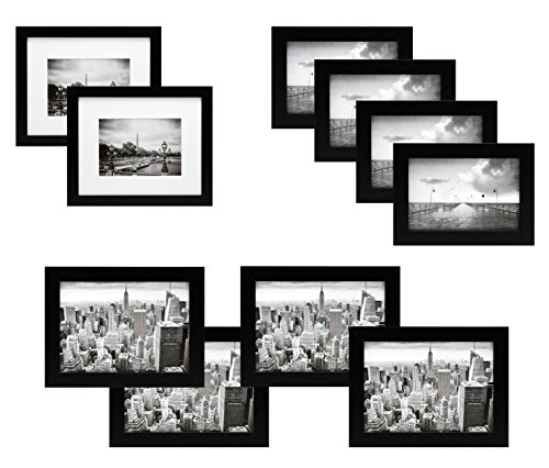10 Piece Black Gallery Picture Frame Gift Set - Two 8x10, Four 5x7, Four 4x6 Inch Frames - Glass Front and Wide Molding - Includes both Attached Hanging Hardware and - Black Picture Set Frame
